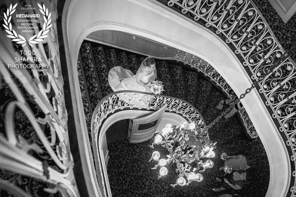 Tarrytown House Wedding, Bride Awaiting e First Look With Her Groom, on the stairs of Biddle Mansion. Wedaward, February, 2016