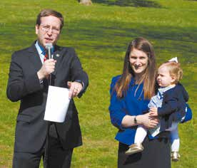 Recently in White Plains: David Buchwald–with his wife and daughter beside him–announcing a third-term run for the Assembly.