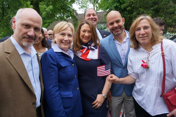 Hillary Clinton with (L-R) Town Supervisor Robert Greenstein and Town Board Members Lisa Spivak Katz, Adam Brodsky, Jeremy Saland and Hala Makowska