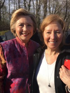 Ann Styles Brochstein who together with Cynthia Metcalf started the Facebook/Twitter accounts for the new Chappaqua & the U.S. for Hillary NOW. Here with Hillary Clinton on the morning of the NY Democratic primary.