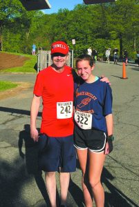 Brian Hand and his daughter, Gillian, shortly before running five miles in the New Castle race on May 15