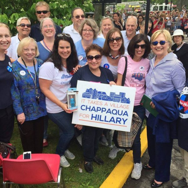 Hillary Clinton stepped off the parade route this year to take a few moments to say hello and express her appreciation to the Chappaqua Friends of Hill grassroots group.