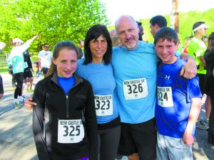 The Greenstein family all ran the 5k route. (L-R): Jessie, Cindy, Robert and Daniel. Jessie won 1st place in her age group, and 2nd place among females!