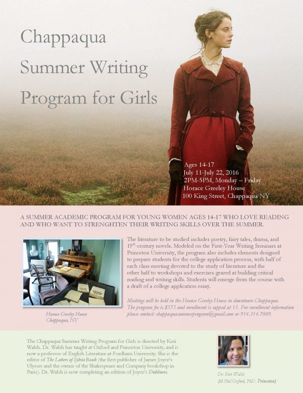 Chappaqua Girls Summer Writing Program poster 2016 jpeg