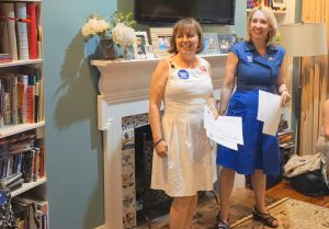 At the DNC: Co-founders of Executive Women for Hillary: Carol Evans (left) and Jennifer Allyn
