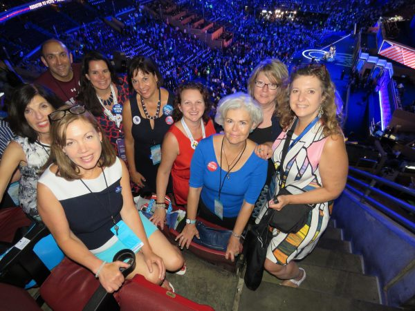 Thursday, July 28: Arriving early to the Wells Fargo Arena, CFOH members get ready to witness their neighbor and hometown candidate Hillary Rodham Clinton accept her party's nomination for POTUS.