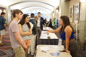 Kristina Contreras Fox engages new members at the Young Democrats of America booth.