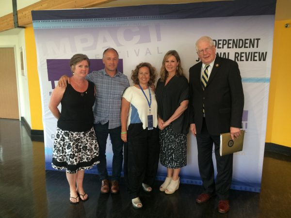 "(L-R): Daniel's parents, Mark and Jackie Barden; filmmakers, Kim Snyder and Maria Cuomo Cole; Congressman David Price, Vice Chair of the House Democrats' Gun Violence Prevention Task Force. A panel discussion followed the screening of ""Newtown,"" which was moderated by Hunter Schwarz, National political reporter, Independent Journal Review."