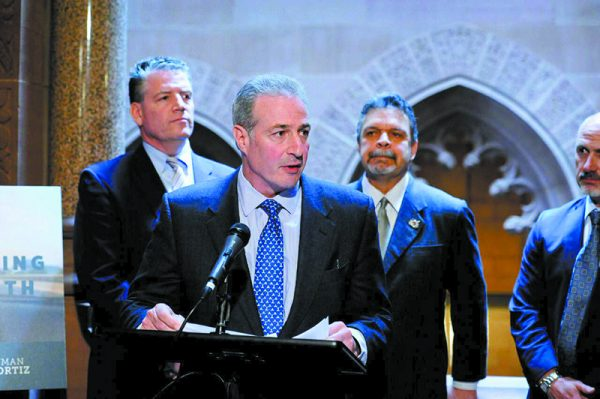 Ben Lieberman speaking at the introduction of Evan's Law at the State Capitol in Albany. Behind him (left to right) are bi-partisan Bill Sponsors Senator Terrence Murphy (R-Westchester) and Assistant Assembly Speaker Felix Ortiz (D-Brooklyn) along with New Castle Town Supervisor Rob Greenstein.
