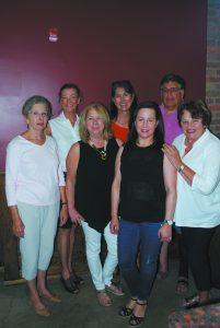 (L to R) Art Show Artist Liaison Judy Moniz; Executive Director Anne Curran; co-chairs Debbie Heidecorn, Marian Hamilton, Stacy Wilder, and David Africk; and co-chair advisor Susan Geffen.