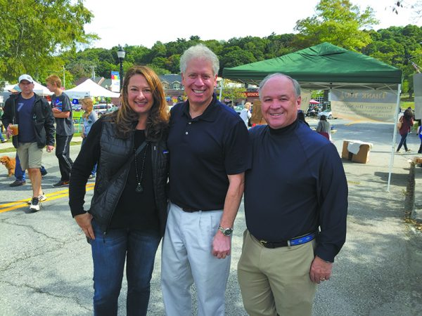 (L-R): Town Council member Lisa Katz, County Legislator Michael Kaplowitz and Jerry Curran, co-chair of the New Castle Democratic Committee