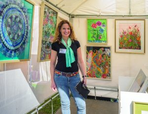 Award-winning artist and Armonk resident Judi Offenberg returned to show her luxuriously colored silk paintings this year for the fifth time at the Armonk Outdoor Art Show, on September 24, 2016. Photo © 2016 Marianne A. Campolongo.
