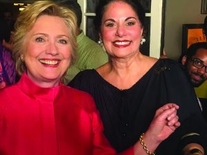 With Varda Singer, owner, ICD Contemporary Jewelry, during an impromptu party at Crabtree's Kittle House to celebrate Hillary Clinton's historic nomination.