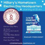 Election Day/Night Activities at Popular Local Venues Aim to Support Hometown Favorite Hillary Clinton in Final Stretch!