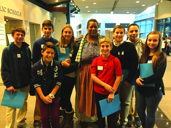 Students from the Paideia School 15 in Yonkers with Sheila Arnold PHOTO COURTESY OF DANIELLE MCCAFFREY