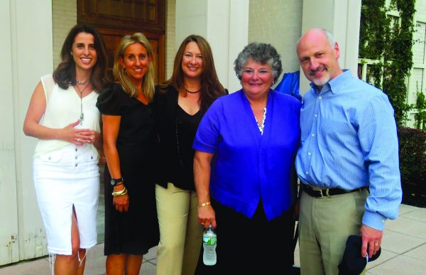Outside the Wallace auditorium prior to a screening of Screenagers: (L-R): Chappaqua Moms's Julia Scott and Georgia Frasch, town board member Lisa Katz, Rev. Martha Jacobson of the First Congregational Church, and Town Supervisor Robert Greenstein.