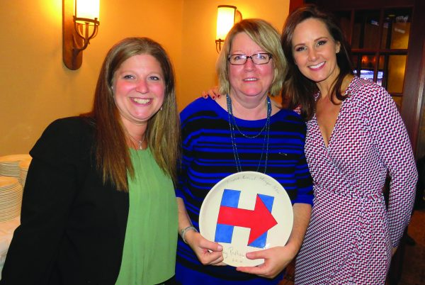 The signed Hillary Bowl: presented as a gift to Dawn Greenberg; here, together with Jessica Reinmann (left) and News 12 emcee, Lisa Salvadorini (right)