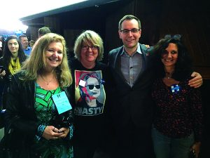 Before a Katy Perry GOTV rally and concert in Philly: Photo op with Dawn Evans Greenberg (to my right), Robby Mook, Hillary for America campaign manager, and Dawn Dankner Rosen.