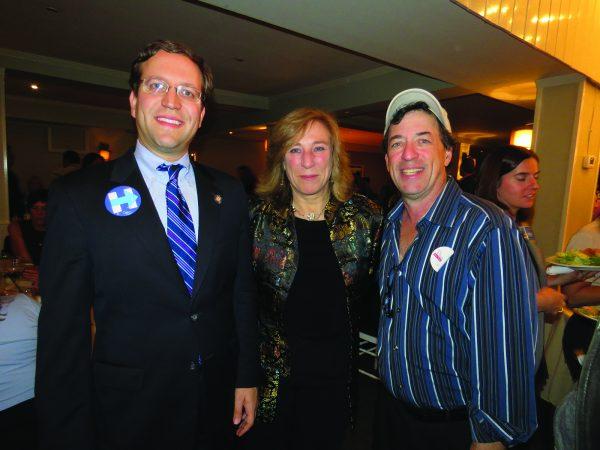 State Assemblyman David Buchwald (left), Town Board Member Hala Makowska, and Michael Weinberg