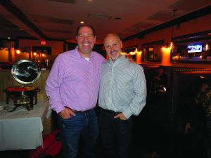New Castle's Adam Brodsky (left) and Robert Greenstein at an Election Watch Party at Chappaqua Tavern