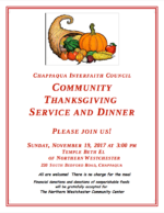 Chappaqua Interfaith Community Thanksgiving Service and Dinner