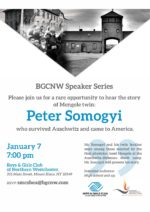 Peter Somogyi–Survivor of Auschwitz and Mengele–to Speak at Boys and Girls Club on Jan. 7